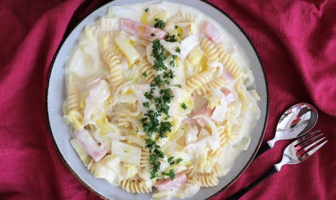白菜とキノコの豆乳クリームパスタ
