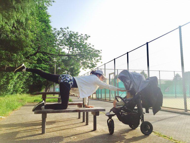 元井里奈さん公園で運動中