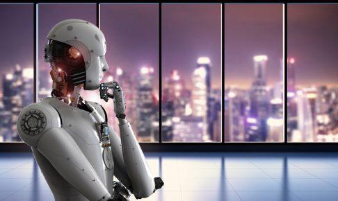 窓の外を見るロボット