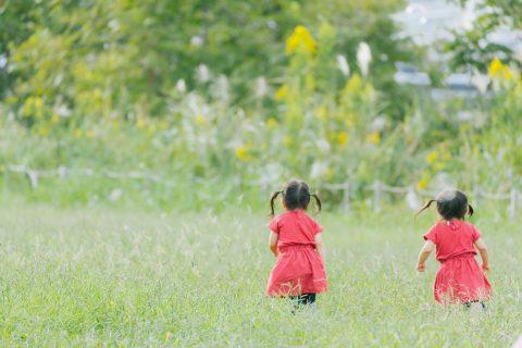 草むらで遊ぶ女の子2人