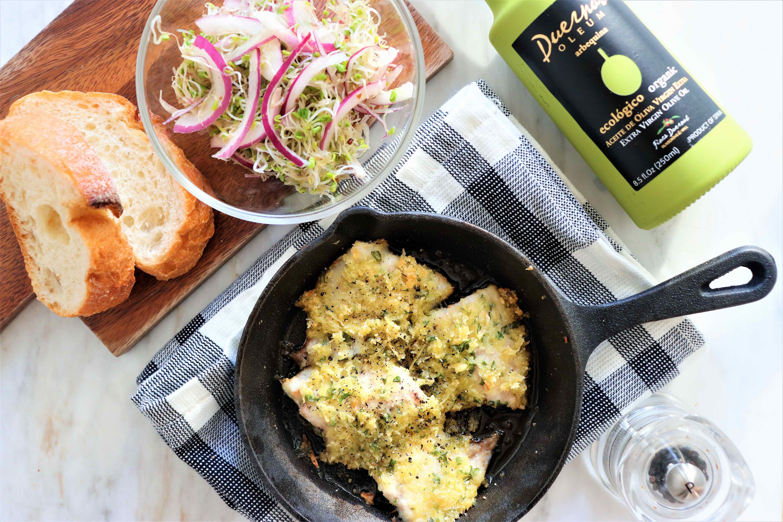 アジの香草パン粉焼きとレッドオニオンの簡単サラダ