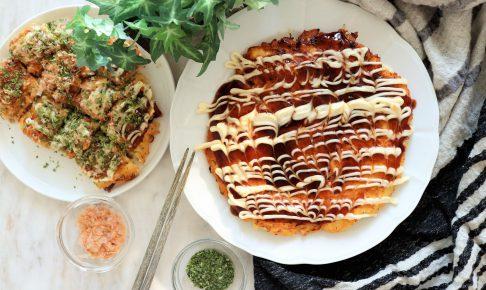 長芋とエノキのふわふわお好み焼き