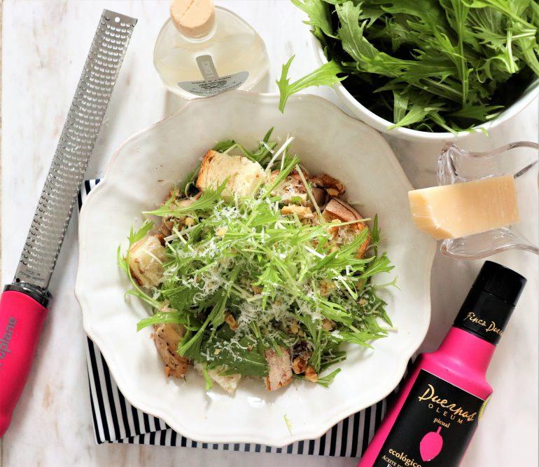 水菜とチキン、くるみのご馳走サラダ