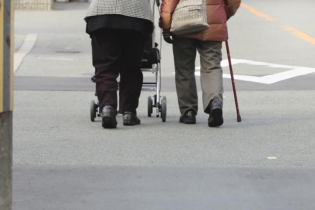 お年寄りの散歩