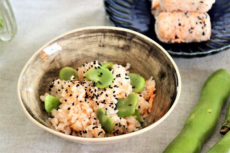 そら豆と鮭の炊き込みご飯